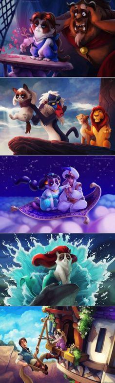 Grumpy Cat in Disney Movies - www.meme-lol.com