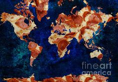 Pizza World 2   A fun food art piece created from a pepperoni pizza and digital design and textures.