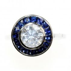 Stunning art deco style sapphire and diamond ring, maybe someday....