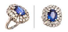 RING  Platina. Fattet med en safir 12 - 9 mm, fire trapesslipt diamanter 0,60 ct og 28 brillianter 1,8 ct. Totalvekt: 14,9 g. Antatt kvalitet: Wesselton SI/VS STØRRELSE 50 HØYDE 22 mm BREDDE 19 mm Heart Ring, Floral, Jewelry, Diamond, Ring, Jewlery, Jewerly, Flowers, Schmuck