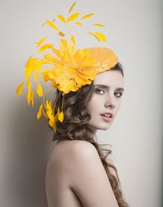 Yellow Fascinator Cocktail hat Derby Hat  Fascinator от ArturoRios, $194.00