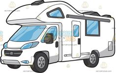 A Classic Motorhome : An RV motorhome with white body paint glass windows doors a sort of high roof and four tires Painting On Glass Windows, Travel Clipart, White Bodies, Vector Illustrations, Motorhome, Body Painting, Rv, Vehicle, Clip Art