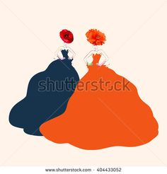 Abstract watercolor portrait of young women (model) with red hats (poppies), creative make-up, blue and red dresses, beauty, logo fashion, ViktoriyaPanasenko (fashion illustration)