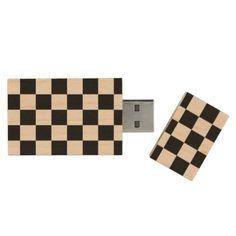 #elegant - #Black and natural wood squares - Warm and elegant Wood USB Flash Drive