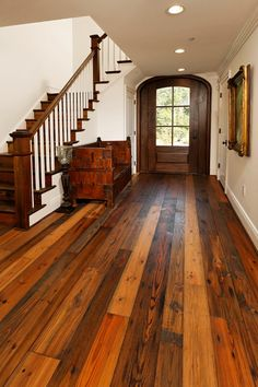 wide plank barn wood flooring Authentic Pine Floors: Reclaimed Wood Compliments any Design Style Pine Floors, Hardwood Floors, Wood Flooring, Flooring Ideas, Prefinished Hardwood, Heart Pine Flooring, Porch Flooring, Future House, My House