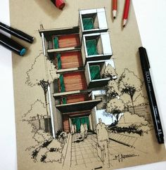 Love Drawing and Design? Finding A Career In Architecture - Drawing On Demand Sketchbook Architecture, Blog Architecture, Architecture Student, Interior Design Sketches, Sketch Design, Art Design, Urban Design, Photo D'architecture, Photo Wall