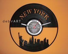 New York vinyl clock #home