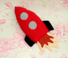 Rocket Ship - Spaceship - Gender Reveal - Outer Space Decor - Gift For Boys - Babyshower Gift - Eco Friendly Toy - Red Rocket Pillow. by ogsplosh on Etsy