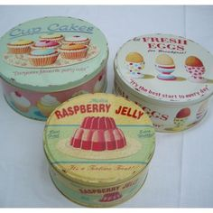Would love to have these vintage tins to put gifts in!
