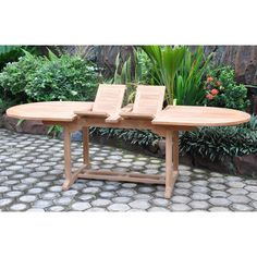 Double Extension Table Round Patio Table, Dining Bench, Tree Seat, Teak Garden Furniture, Extension Table, Table And Chair Sets, Adirondack Chairs, Wicker, Extensions