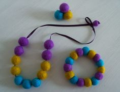Felted necklace brooch and bracelet set by MoonRabbitCrafts