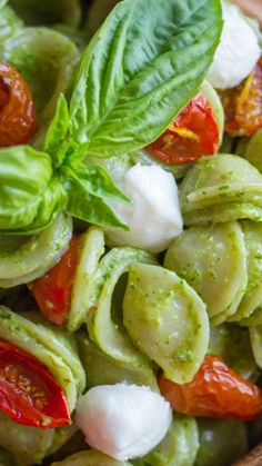 ORECCHIETTE WITH PESTO AND OVEN ROASTED TOMATOES ~ classic Caprese Salad flavor combination of tomato, basil, and mozzarella... It's simple, healthy, fresh and full of flavor.