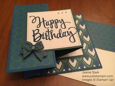 Stylized Birthday, Eastern Palace Specialty DSP, Stitched Shapes Framelits, 2017-2019 In Color Bitty Bows, Pearls, Birthday Delivery - Double Z Fold card (closed) - TTTC#008 - https://juststampin.com/2017/07/27/a-birthday-fun-fold-for-tic-tac-toe-challenge-8/