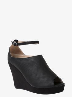 Sporting a sexy snake print, these black booties have a skinny ankle strap and a peep toe. The faux suede platform wedge gives these sky-high stunners an elevated look.