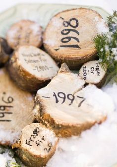 Do you give your Christmas tree a fresh cut before putting it in the stand? If so, collect the cross sections and label the year and the species of tree used. It's a nostalgic and easy way to reflect back on Christmases past! More ideas for decorating with nature: http://www.midwestliving.com/garden/ideas/outdoor-holiday-decorating-with-natural-materials/page/7/0