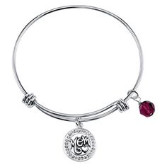 Women's Stainless Steel Mom Expandable Bangle - Silver
