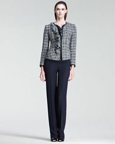 Tweed Jacket, Printed Cowl-Neck Blouse & High-Waist Pants by Armani Collezioni at Bergdorf Goodman.