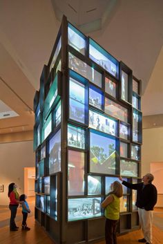 Tower with projected images with infrared light sensors at Portland Museum of…