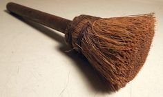 Unusual Primitive Round Antique Whisk Broom w Wire Wrap Looks Homemade c1920s