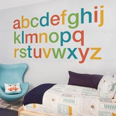 "Kids love to learn their ABCs with our Alphabet Decals! [Size] Large Size (approx): 62w x 64h Small Size (approx): 48w x 50h  [Whats Included] 26 alphabet stickers  [Choosing Colors] > Color A (a,e,i,m,q,u,y) : Choose 1 color > Color B (b,f,j,n,r,v,z) : Choose 1 color > Color C (c,g,k,o,s,w) : Choose 1 color > Color D (d,h,l,p,t,x) : Choose 1 color  During checkout, you will see a ""note to SimpleShapes"" box where you can type in your request. Please type your color selections here..."
