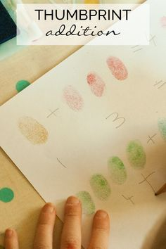 Simple low prep activity to help young children with addition and number sentences using thumbprints. Addition Activity for Pre-K to K kids Maths Eyfs, Numeracy Activities, Addition Activities, Math Addition, Preschool Learning Activities, Addition And Subtraction, Math Games, Guided Maths, Kindergarten Addition