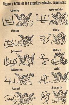 Celestial Spirits of the Book of Saint Cyprian Occult Symbols, Magic Symbols, Symbols And Meanings, Occult Art, Ancient Symbols, Viking Symbols, Egyptian Symbols, Viking Runes, Angelic Symbols
