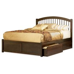 Windsor Wood Platform Storage Bed in Antique Walnut by Atlantic Furniture