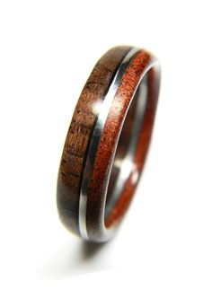 Unique Walnut and Sandalwood Wood Ring Jewelry by SaxonWoodJewels