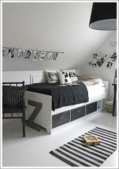 Love the Scandi schic monochrome kids bedroom style? You're going to need this must-have shopping list to get the look. black and white kids bedroom, monochrome nursery, modern home. Teen Boy Rooms, Teenage Room, Teen Girl Bedrooms, Bedroom Boys, Teen Boys, White Kids Room, Black And White Boys Bedroom, Black Girls, Boys Monochrome Bedroom