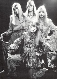 1960s The women of the Beatles, Patty Harrison, Cynthia Lennon, Maureen Starr, with Jenny Boyd