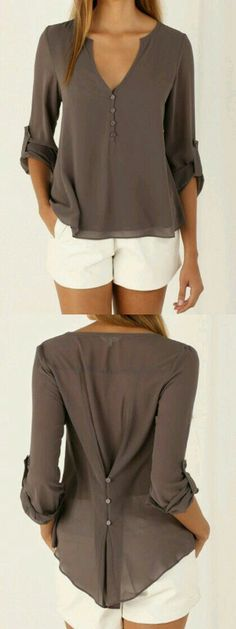 Button back- great idea for custom-fitting a button up top. Take in the waist of a too big shirt