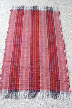 dark red rag rug