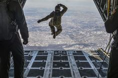 Air Force Tech. Sgt. Benjamin Jonas jumps out of a C-130 Hercules at 10,000 feet while flying over Yokota Air Base, Japan, March 2, 2016. Jonas, a noncommissioned officer in charge of survival, evasion, resistance and escape operations, is assigned to the 374th Operations Support Squadron. Air Force photo by Senior Airman David Owsianka
