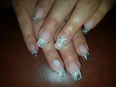 Clear acrylic sculptured nails with glitter & crystals, soft pink