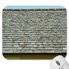 Vintage Slate Roof Tiles Against Blue Sky Mousepads