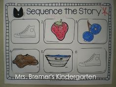 Sequencing activities to go with Pete the Cat and There Was An Old Lady Who Swallowed. Story Sequencing, Sequencing Activities, Preschool Literacy, Preschool Books, Language Activities, Book Activities, Preschool Centers, Counting Activities, Vocabulary Activities