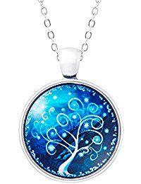 KlimtArt - Lebensbaum Kette mit Glas-Anhänger für Damen; elegante Baum des Lebens Halskette mit rundem Bild-Medaillon; moderner Modeschmuck mit hochwertigem Foto-Amulett - Weißer Lebensbaum