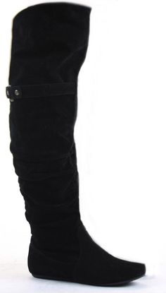 Womens Thigh High Over the Knee Winter Biker Style Low Flat Heel Knee Boots Size | eBay