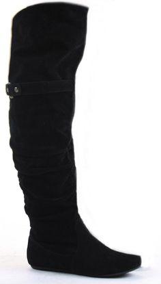 Ladies Black Flat Winter Walking Style Heel Over Knee Thigh High ...