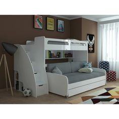 Bellezza Piccola Twin Wall Bed Bel Mondo Twin over Twin XL Bunk Bed with Sofa, Desk and Trundle Bunk Beds For Boys Room, Bunk Bed Sets, Childrens Bunk Beds, Futon Bunk Bed, Bunk Bed With Trundle, Cool Bunk Beds, Bunk Beds With Stairs, Twin Bunk Beds, Kid Beds