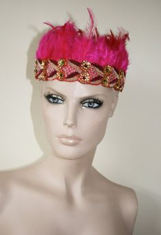Pink feather and sequin beaded embellished head dress by ZEDHEAD, £22.00