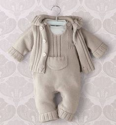 Baby Knitting Patterns Sweaters Knitted romper with jacket. Romper is in step with press studs. Crochet Baby Pants, Knitted Baby Clothes, Knitted Romper, Baby Knits, Baby Boy Knitting Patterns, Knitting For Kids, Baby Patterns, Knitting Ideas, Crochet Patterns