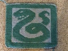 This is a snake I designed as a Slytherin square for a Harry Potter themed afghan. THIS IS NOT ENDORSED BY J.K. ROWLING nor is it an official Harry Potter pattern. I am simply a Harry Potter fan creating a blanket for personal use.