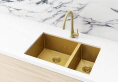 This Stainless Steel Double Bowl Kitchen Sink in Brushed Gold combines cutting-edge nanotechnology and an environmentally friendly brushed PVD coloured finish, to produce a high-strength, scratch-resistant coating. Gold Kitchen Faucet, Bronze Kitchen, Kitchen Mixer Taps, Double Bowl Kitchen Sink, Kitchen Sinks, Home Depot, Sound Absorbing, Küchen Design, Duplex Design