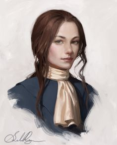 A rare painting of the 1st Traveller from the revolutionary war, during her apprenticeship under the Corsair, sans hat.