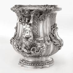 A French silver wine cooler after Meissonnier, Boin-Taburet, Paris, circa 1889.