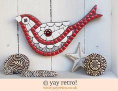 Red Stripy Mosaic Bird (£26.00)