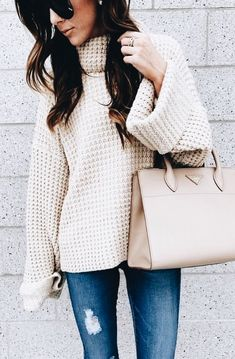 Waffle knit sweater! Comfy and casual for fall and winter.