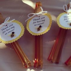"""Honey sticks as wedding favors that say, """"Meant to bee!""""  Love the burlap holding them together!"""