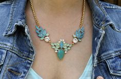 Gorgeous Statement Necklace! Love a bib necklace in Turquoise paired with a denim jacket!